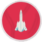 Sr-71 Blackbird Jet Aircraft - Crimson Round Beach Towel