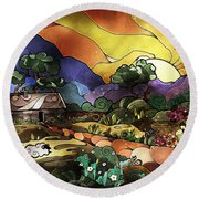 The Shepherd's Cottage Round Beach Towel