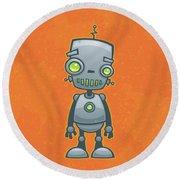 Happy Robot Round Beach Towel