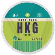 Retro Airline Luggage Tag - Hkg Hong Kong Kai Tak Round Beach Towel