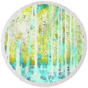 Sherwood Pines Abstract Art Round Beach Towel