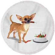 Round Beach Towel featuring the digital art Spicy Wordless by Rob Snow