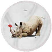 Round Beach Towel featuring the digital art Horny by Rob Snow