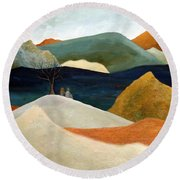 Us Two With A View Round Beach Towel