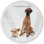 Round Beach Towel featuring the digital art The Long And The Short And The Tall by Rob Snow