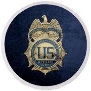 Drug Enforcement Administration -  D E A  Special Agent Badge Over Blue Velvet Round Beach Towel