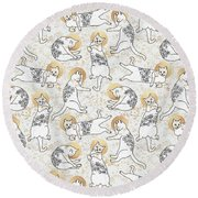 Floral Cats Round Beach Towel