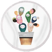 Sleepy Cactus Round Beach Towel