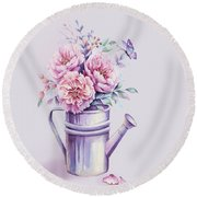 Round Beach Towel featuring the painting Pink Peonies Blooming Watercolour by Georgeta Blanaru