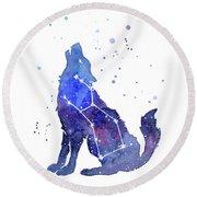 Galaxy Wolf - Lupus Constellation Round Beach Towel