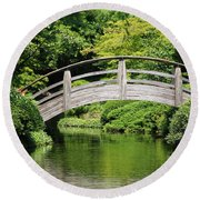 Japanese Garden Arch Bridge In Springtime Round Beach Towel