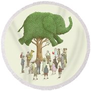 The Elephant Tree Round Beach Towel
