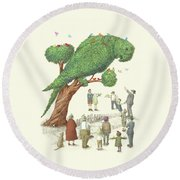 The Parrot Tree Round Beach Towel