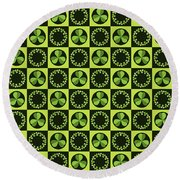 Round Beach Towel featuring the digital art Green Shamrocks Circles And Squares by MM Anderson