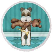 T Is For Terrier And Teddy Round Beach Towel