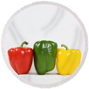 Round Beach Towel featuring the photograph Bell Pepper Support Group by Debi Dalio