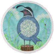 Q Is For Quail And Queen Anne's Lace Round Beach Towel