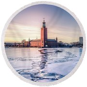 Stockholm City Hall In Winter Round Beach Towel
