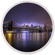 Bright Lights Of New York II Round Beach Towel