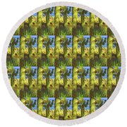 In The Shadow Of Saguaros Round Beach Towel
