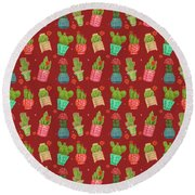 Cactus Friends Round Beach Towel