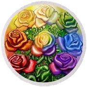Rainbow Of Roses Round Beach Towel
