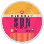 Retro Airline Luggage Tag - Sgn Ho Chi Minh City Vietnam Round Beach Towel