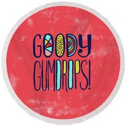 Goody Gumdrops Round Beach Towel