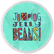 Jumping Jelly Beans Round Beach Towel