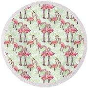 Flamingo Pattern Round Beach Towel