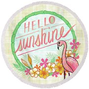 Hello Sunshine Flamingo Art Round Beach Towel
