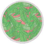 Banana Leaf Pattern Pink Round Beach Towel