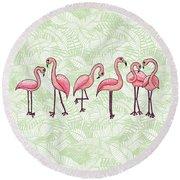 Tropical Flamingos Round Beach Towel