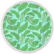 Banana Leaf Pattern Blue Round Beach Towel