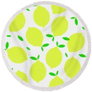 Sunny Lemon Pattern Round Beach Towel