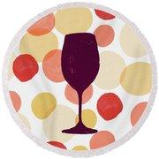 Bold Modern Wine Glass Art Round Beach Towel