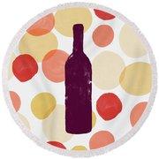 Bold Modern Wine Bottle Art Round Beach Towel