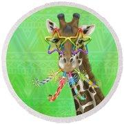 Party Safari Giraffe Round Beach Towel