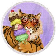 Party Safari Tiger Round Beach Towel