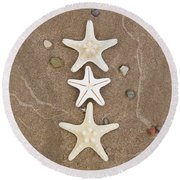 Round Beach Towel featuring the photograph Starfish In The Sand by Emily Johnson