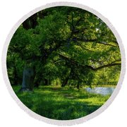 Summer Morning In The Park Round Beach Towel