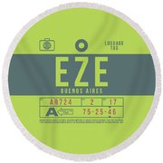 Retro Airline Luggage Tag 2.0 - Eze Buenos Aires Airport Argentina Round Beach Towel