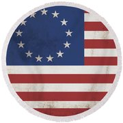 Betsy Ross Flag Land Of Free Home Of Brave Round Beach Towel