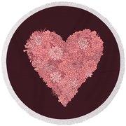Pink Succulent Heart Dark Background Round Beach Towel