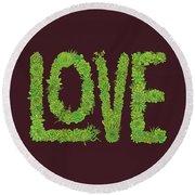 Love Succulent Dark Background Round Beach Towel