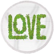 Love Succulent White Background Round Beach Towel