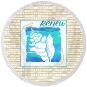 Renew Seashell Coastal Art Round Beach Towel