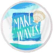 Make Waves Seashell Coastal Art Round Beach Towel