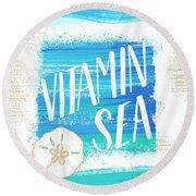 Vitamin Sea Sand Dollar Coastal Art Round Beach Towel