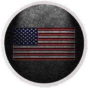 American Flag Stone Texture Round Beach Towel